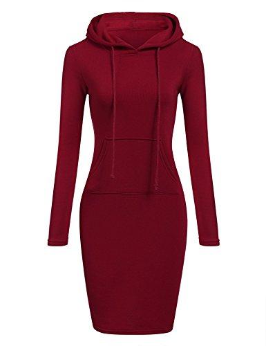 Pagacat Hoodie Damen Sweatshirt Kleid Sportlich Pullover Kleid Bleistift Langarm Kleid Knielang