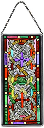 Winged Heart presented by Celtic Glass Designs Dekorativer handbemalter Glasmalerei Glas Fenster Panel in keltischen Knoten Design