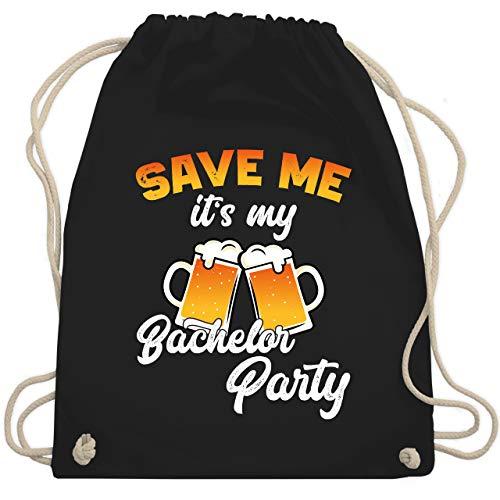 Shirtracer JGA Junggesellenabschied Männer - Save me it's my Bachelor Party Bier - Unisize - Schwarz - Verlobung - WM110 - Turnbeutel und Stoffbeutel aus Baumwolle