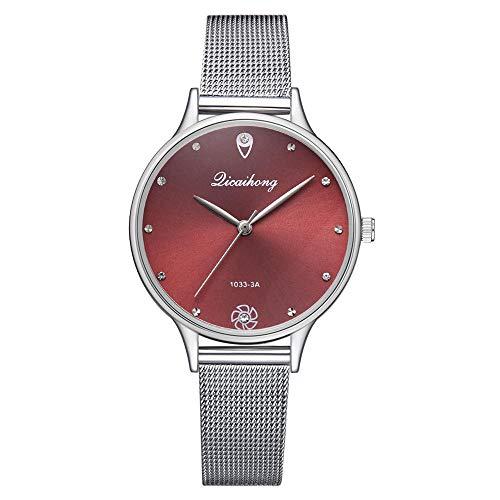 Powzz - Reloj inteligente con esfera verde y correa de cuarzo para hombre, diseño creativo elegante, diamante, color rojo