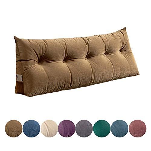 Colore : Brown, Dimensioni : 120 x 50cm QiangDa Capezzale Cuscino Cuscini Letto Softbag Imbottitura di Cotone Surround su Tutti I Lati per Camera Doppia 4 Colori Solidi 4 Dimensioni Opzionale