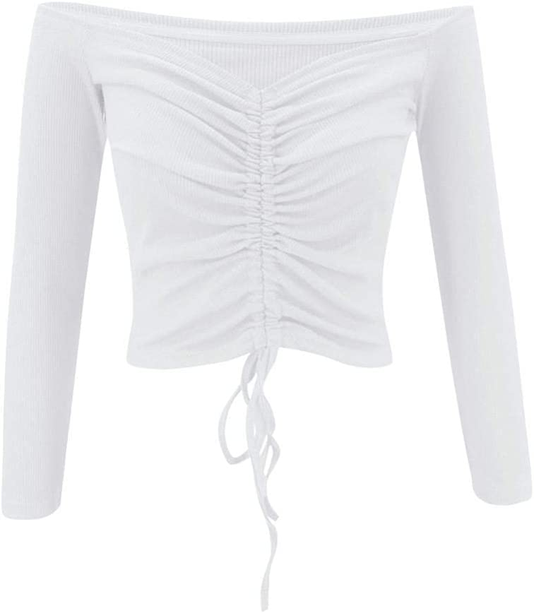 HSHUIJP Sexy Tops for Women Women Sexy Off Shoulder Drawstring Knitted Short Tops Long Sleeve Slash Neck Slim Solid Club Fashion Casual Crop Top T Shirts Women, s Vests (Color : White, Size : XL)