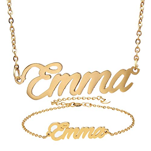 AIJIAO Personalized Name Necklace + Name Bracelet Sets for Women Nameplate Pendant Gift -Emma Gold Set