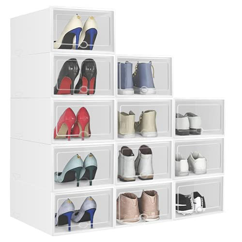 Foldable Shoe Box, Stackable Clear Shoe Storage Box, Storage Bins Shoe Container Organizer, Multifunctional storage box 12 Pack