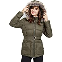 Women's Warm Quilted Zip Up Puffer Jacket with Fur Hood