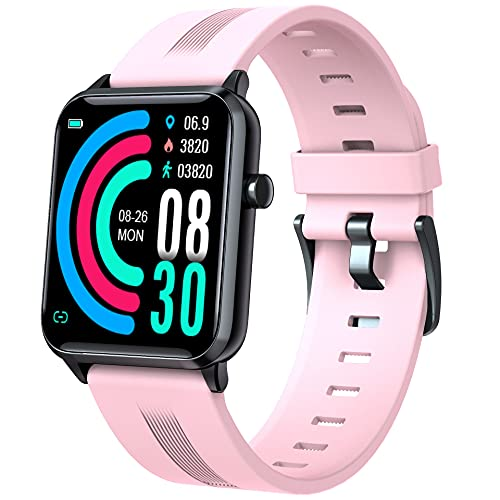 EBAKIN Smart Watch for Android Phones and iPhone, Fitness Tracker with Heart Rate, Sleep Monitor, Music, Connect the Phone GPS, IP68 Waterproof Multi-sport Health Smart Watches for Men and Women(Pink)
