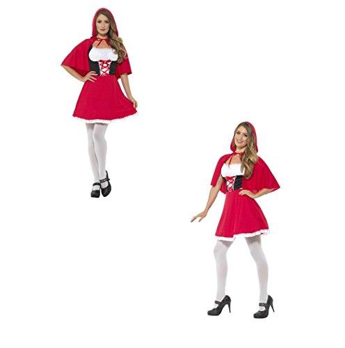 Fancy Dress Four Less Damen Rotkäppchen Cape rot, mit kurzes Kleid Kostüm Fairy Tail Story 44685