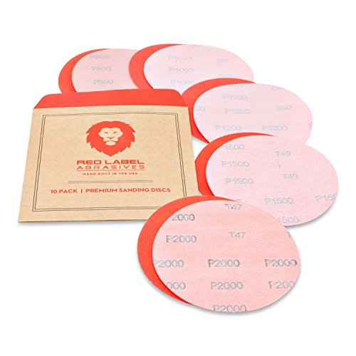 5 Inch High Performance Hook and Loop Wet/Dry Auto Body Film Sanding Discs, 10 Pack, Assorted Extra Fine Grits