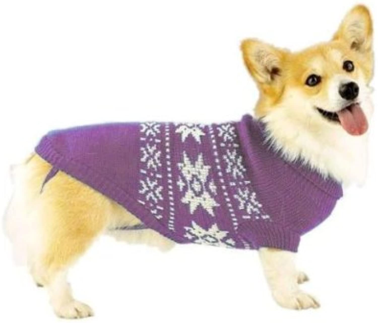 Dog Sweater  Purple Snowflake Dog Sweater  XLarge (XL) by Casual Canine