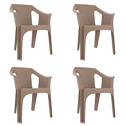 RESOL Cool Set 4 Sillas de Jardín con Reposabrazos Apilable   Terraza, Patio, Exterior, Comedor, Reuniones   Diseño Moderno Ligera y Resistente Filtro UV - Color Marrón Arena