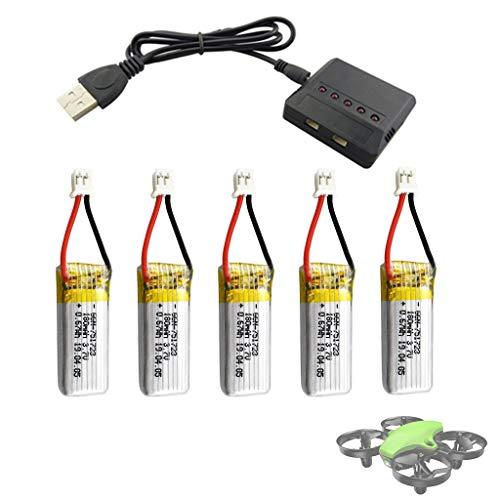 HSKB RC Drohne Ersatz Upgrade Backup Li-po Batterie | 3,7 V 180 mAh | Hochleistungs-Lithium-Polymer-Batterie mit 5 in 1 Charger und USB-Leitung für RC Drone A20 A20W Ersatzteile 5Pcs