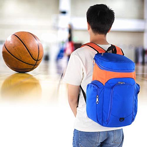Pokerty9 Bolsa de Entrenamiento, Bolsa de Baloncesto, Correas Transpirables ensanchadas y engrosadas, Simple y Duradera para Estudiantes Adultos(Orange with Blue)