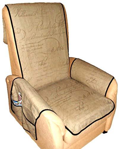 Holzdrehteile Sesselschoner Sesselauflage Sesselbezug Schoner Überwurf Auflage Hellbraun Schrift