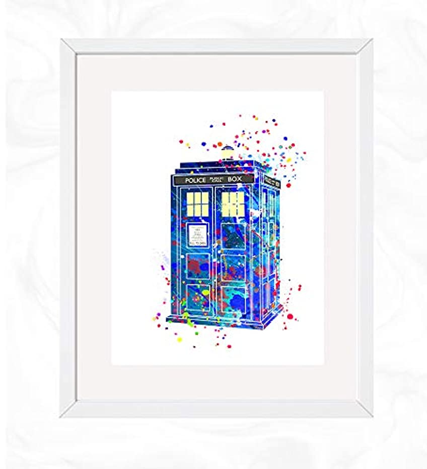 Tardis time machine Prints, Doctor Who Watercolor, Nursery Wall Poster, Holiday Gift, Kids and Children Artworks, Digital Illustration Art