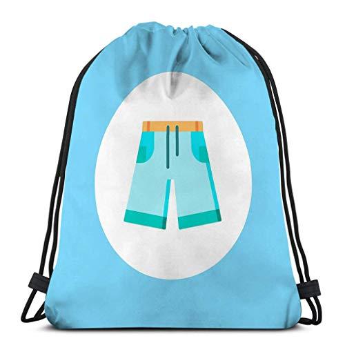 Cordon Sac à Dos Sac à Cordon Serrage Short en jean contour icône signe de style linéaire concept mobile web jeans simple ligne symbole logo Sac de Sport 36X43CM