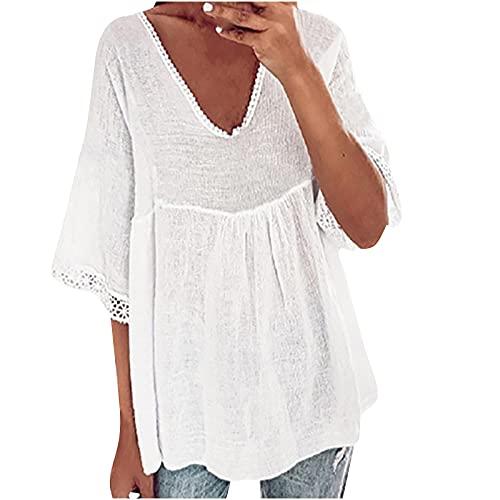 Camisas y blusas para mujer con cuello en V, camiseta de manga corta, informal, blusa tipo túnica para oficina