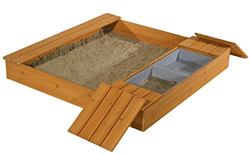 GASPO Sandkasten mit Matschfach Oswald Sandkiste aus Holz, B 125 x T 121 x H 17,5 cm ideal für den Garten