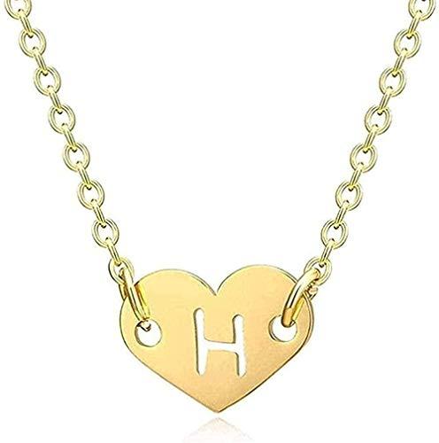 Collar concolgante de corazón de amor para niñas, collar con colgante de alfabeto inicial hueco para mujer