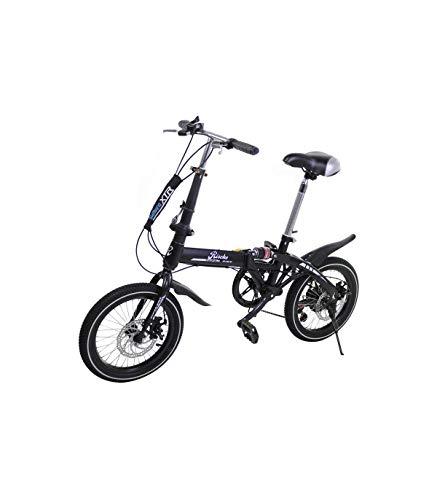 Riscko - Bicicleta Plegable Urbana | Cambios Shimano | Super Bike Unisex | Modelo bep-32 | Adulto de 16'' Color: Negro