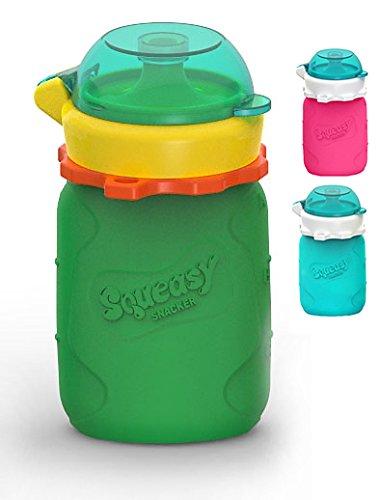 MINI Squeasy Snacker (Grün) - Wiederverwendbares Quetschie aus Silikon, 100ml, Quetschbeutel zum selbst befüllen, BPA-frei
