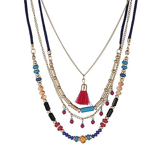 juntao Collar para mujer, estilo bohemio, collar de geometría multicapa, estilo nacional, borla colgante collar joyería al por mayor (color metal: AI0020)