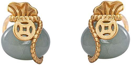 ZHIRCEKE Jade Pendientes Sterling Silver Forma Chapado en Oro Bolsa de Plata Joyería cumpleaños, Significado de Augure