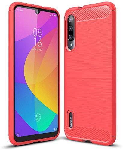 Capa Capinha Anti Impacto Para Xiaomi Mi 9 Lite Tela De 6.39 Case Com Desenho Fibra De Carbono - Danet (Vermelho)