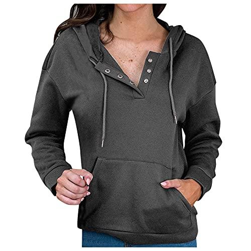 Dasongff - Sudadera con capucha para mujer, manga larga, para otoño e invierno, con capucha, cuello en V, botones, con bolsillo tipo cangura, estilo informal