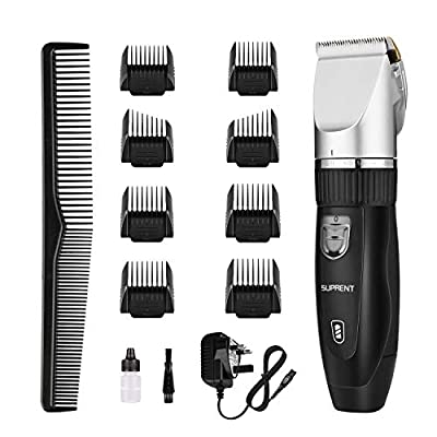 SUPRENT Cordless Hair Clippers for Men, Professional Rechargeable Hair Trimmer, Hair Cutting Kit with 40 Lock-in Haircut Lengths, Titanium Ceramic Blade, Fast Charge, Low Noise from SUPRENT