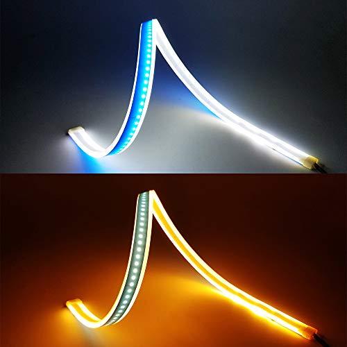 2 tubes LED blanc/ambre, YANF Flexible LED Tube Style Barre DRL Feux Diurnes Larme Strip Voiture Phare Clignotant Lampe de Parking (60CM)