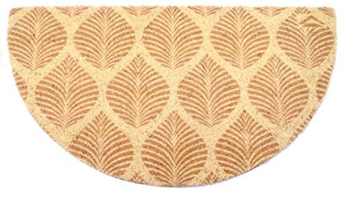 Felpudo de coco natural Joker Mezzaluna 40 x 75 cm fondo goma PVC diseño hojas beige para entrada resistente lavable antideslizante de calidad