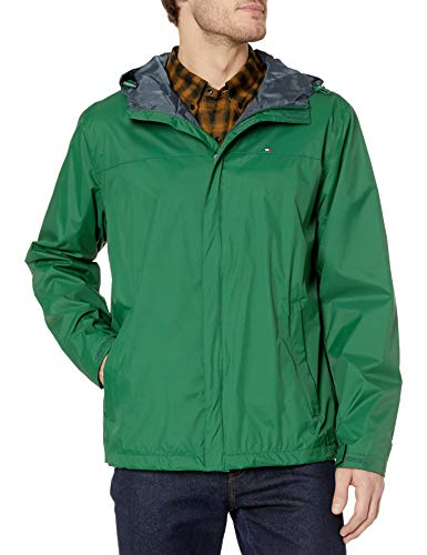 Mens Waterproof Breathable Windbreaker Green Hooded Jacket