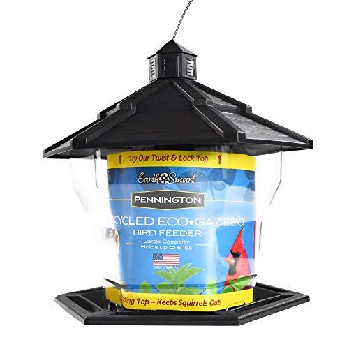 Pennington Black Plastic Hopper Cardinal Wild Bird Feeder, 6 lb. Capacity