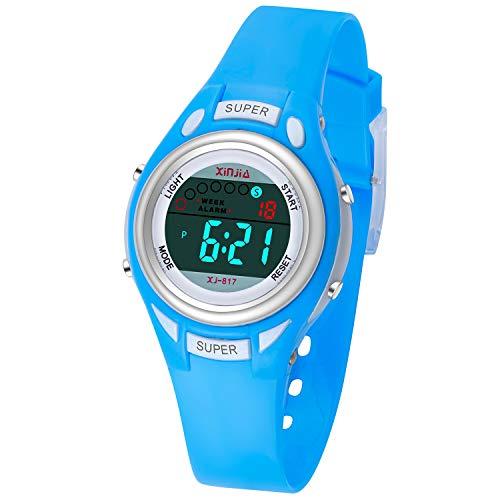 Kids Digital Watches Waterproof Girls Sport Digital Watches for Boys Backlight Wristwatch with Alarm Stopwatch Best Gift for Child Girls Boys Multi Function Wrist Watch (Blue)