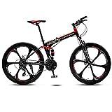 WSJ Vélo Pliant de 24 Pouces, VTT Tout-Terrain à 6 Branches / 10 Branches, vélo à Double Suspension, Cadre en Acier à Haute teneur en Carbone, Frein à Disque Double