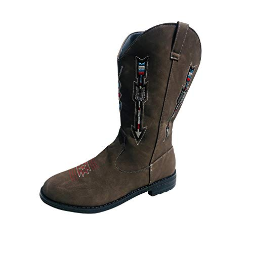Great Features Of Woman Shoes Retro Sleeve Square Heel Embroidered Round Head Middle Boot Brown