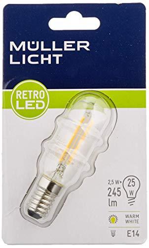MÜLLER-LICHT 400027 A++, 4er-Set Retro-LED Lampe T25 ersetzt 25 W, Glas, 2 W, E14, weiß, 2.5 x 2.5 x 8.4 cm