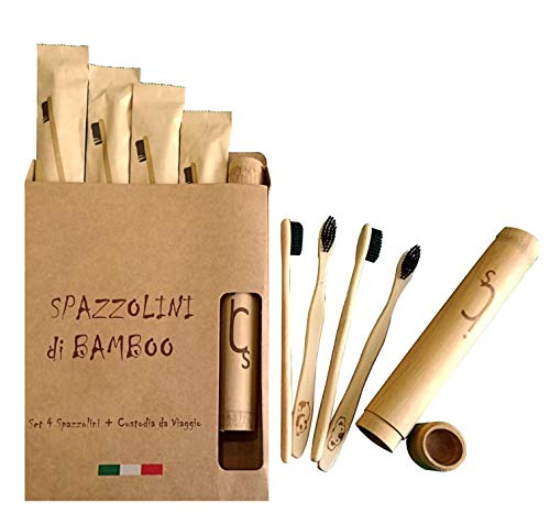 Spazzolino Bamboo Denti, Set 4 Spazzolini Bambu,  Regalo Custodia Viaggio Portatile, Eco Biodegradabile Ecologico Vegan, Setole Carbone Attivo Naturale Sbiancamento, No Muffa, No Waste