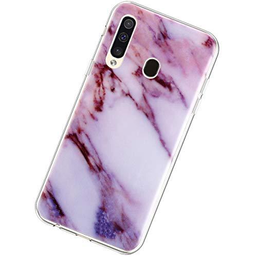 Coque Compatible avec Samsung Galaxy A60,Étui Marbre Motif Ultra Mince Souple Transparent TPU Silicone Housse Flexible Crystal Case Antichoc Scratch Anti-Rayures Téléphone Protection Bumper,Violet