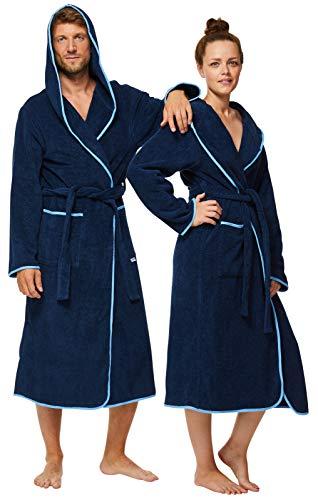 Sowel® Bademantel Damen und Herren, 100% Baumwolle, Kapuze, Extra Lang, Flauschiges Frottee, Premium, XS, Navy/Blau