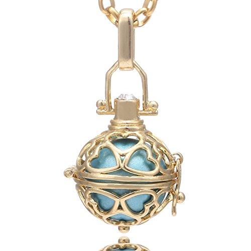 Morella Collana Donna in Acciaio Inox Oro 70 cm con Ciondolo Cuore Oro e Sfera Azzurra Ø 16 mm in Sacchetto di Velluto
