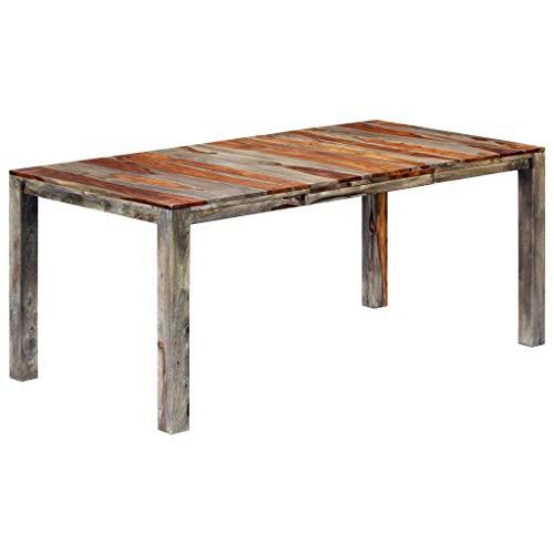 UnfadeMemory Esstisch Esszimmertisch Küchentisch aus Sheesham-Massivholz Esszimmer Holztisch in Rustikalem Charme Grau (180 x 90 x 76 cm)
