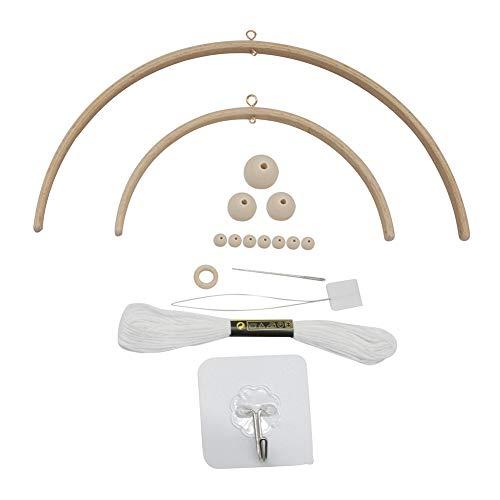 Carillón de viento cuna de bebé, Kit marco móvil de madera para bricolaje, estrella cuentas madera natural artesanal, colgador de campana para cuna, decoración del hogar, regalo para niños