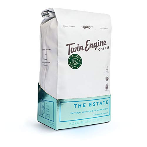 Twin Engine Coffee ESTATE BLEND - Breakfast Roast, Ground Coffee, Nicaraguan Coffee, 400g 14.1oz   Rich Specialty Grade Coffee packaged at the source  