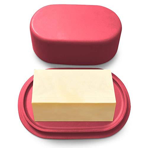 Butterdose Cooler Kitchen aus Bambus | Rot runder Butterbehälter mit Deckel für Butter | Modern und klassisch | Leichte Butterschale | Spülmaschinenfeste Butterglocke, Butterbox
