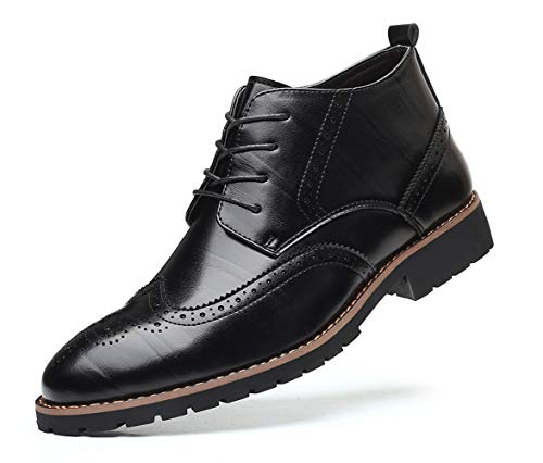 Mens Wingtip Patent Leather Lace-up Derby Oxford Ankle Boot Dress Ankle Combat Motorcycle Boots Black 11 US