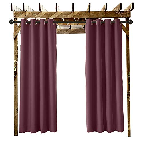 """ChadMade Outdoor Curtain Burgundy 84"""" W x 102"""" L Grommet Eyelet in Front Porch Pergola Cabana Covered Patio Gazebo Dock and Beach Home (1 Panel)"""