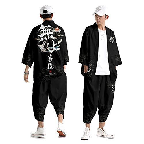 Hombre Kimono Cárdigan,Pantalones Harem Informales para Hombre Traje Pantalón Kimono Tradicional Japonés Camisa Haori Verano Estampado Grúa Kimono Streetwear,Black-Large