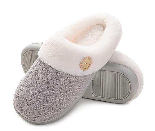 Vonluxe Pantuflas para mujer, cómodas de espuma viscoelástica para dormitorio, cálidas, sin cordones, ligeras, para interiores y exteriores, con forro de piel sintética, gris,...