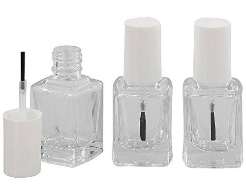 Nagellack-Flasche mit Pinsel, Glasklar leer für Selbstabfüller Kosmetex, Kappe weiß 13 ml, 3 Stück